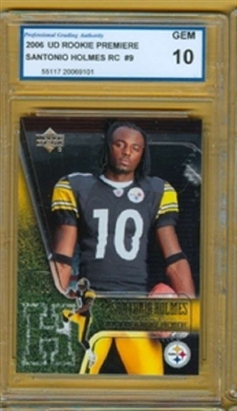 2006 GEM MINT 10 UD Rookie Premiere Santonio Holmes RC # 9 Steelers b