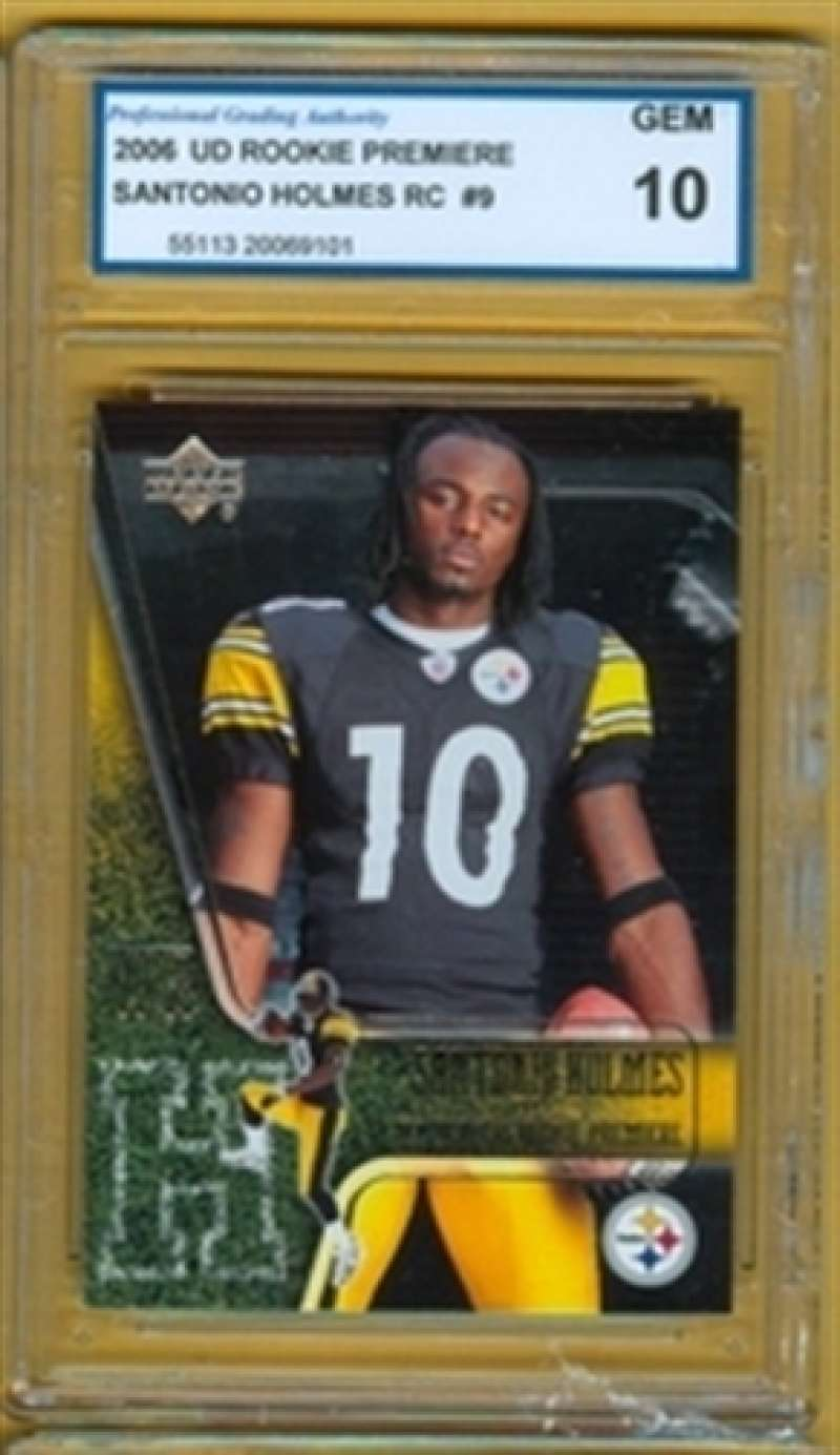2006 GEM MINT 10 UD Rookie Premiere Santonio Holmes RC # 9 Steelers a